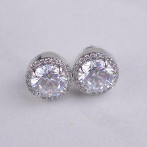 Henri Bendel Silver Round Zircon Earrings